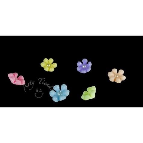 Flores miosotis perla aplique diversos colores en porcelanicron