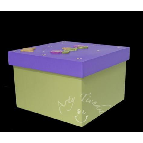 Country caja con tapa en MDF en diferentes colores y motivos