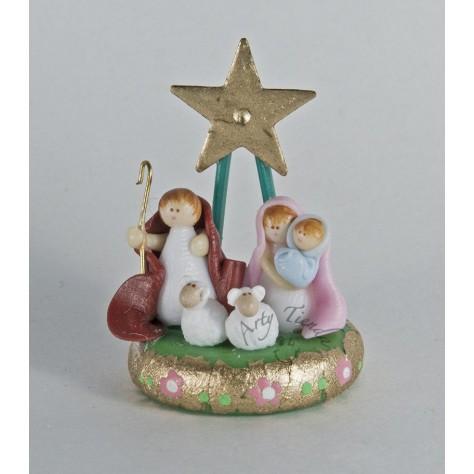 Nacimiento en porcelanicron miniatura en base con estrella