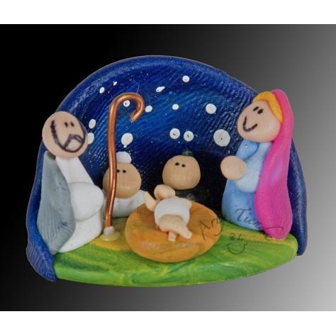 Nacimiento en porcelanicron miniatura base cueva 2