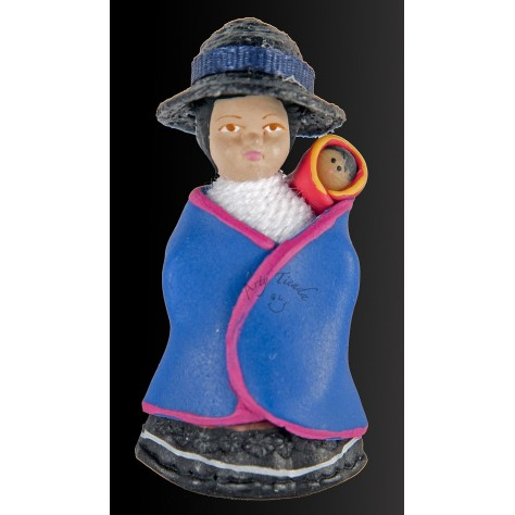 Muñeca Guambiana Cauca en resina y porcelanicrón.